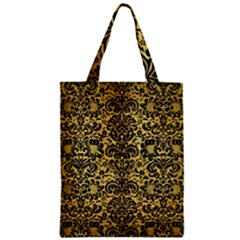 Damask2 Black Marble & Gold Brushed Metal (r) Zipper Classic Tote Bag