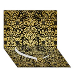 Damask2 Black Marble & Gold Brushed Metal Heart Bottom 3d Greeting Card (7x5) by trendistuff