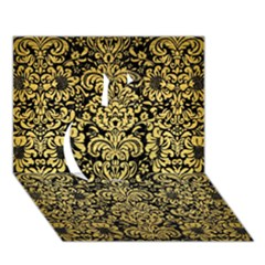 Damask2 Black Marble & Gold Brushed Metal Apple 3d Greeting Card (7x5) by trendistuff