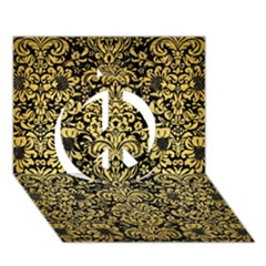 Damask2 Black Marble & Gold Brushed Metal Peace Sign 3d Greeting Card (7x5) by trendistuff