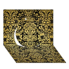 Damask2 Black Marble & Gold Brushed Metal Circle 3d Greeting Card (7x5) by trendistuff