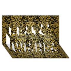 Damask2 Black Marble & Gold Brushed Metal Best Wish 3d Greeting Card (8x4) by trendistuff