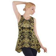Damask2 Black Marble & Gold Brushed Metal Side Drop Tank Tunic