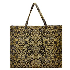 Damask2 Black Marble & Gold Brushed Metal Zipper Large Tote Bag by trendistuff