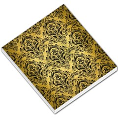 Damask1 Black Marble & Gold Brushed Metal (r) Small Memo Pads