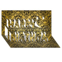 Damask1 Black Marble & Gold Brushed Metal (r) Happy Birthday 3d Greeting Card (8x4)