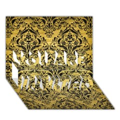 Damask1 Black Marble & Gold Brushed Metal (r) You Are Invited 3d Greeting Card (7x5) by trendistuff