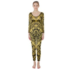 Damask1 Black Marble & Gold Brushed Metal (r) Long Sleeve Catsuit by trendistuff