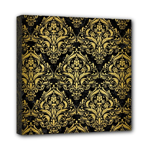 Damask1 Black Marble & Gold Brushed Metal Mini Canvas 8  X 8  (stretched) by trendistuff