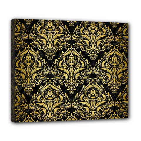 Damask1 Black Marble & Gold Brushed Metal Deluxe Canvas 24  X 20  (stretched) by trendistuff