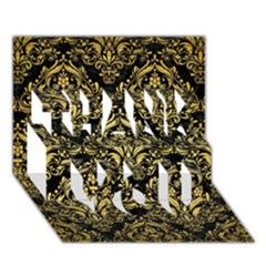 Damask1 Black Marble & Gold Brushed Metal Thank You 3d Greeting Card (7x5) by trendistuff