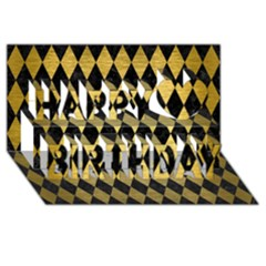Diamond1 Black Marble & Gold Brushed Metal Happy Birthday 3d Greeting Card (8x4)