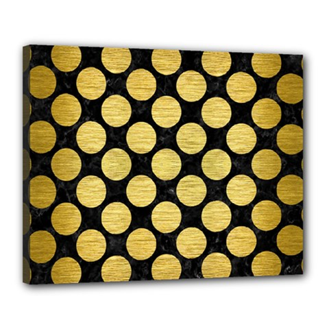 Circles2 Black Marble & Gold Brushed Metal Canvas 20  X 16  (stretched) by trendistuff