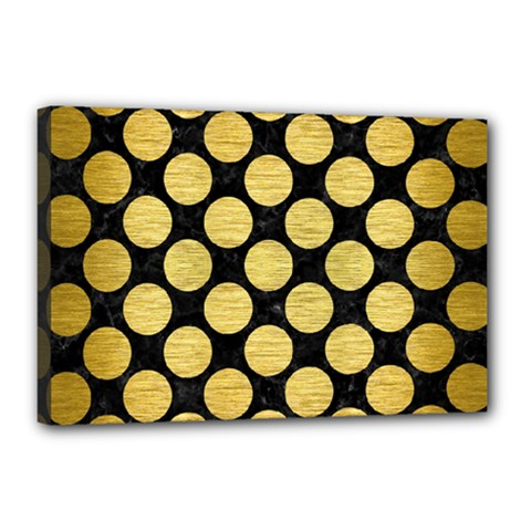 Circles2 Black Marble & Gold Brushed Metal Canvas 18  X 12  (stretched) by trendistuff