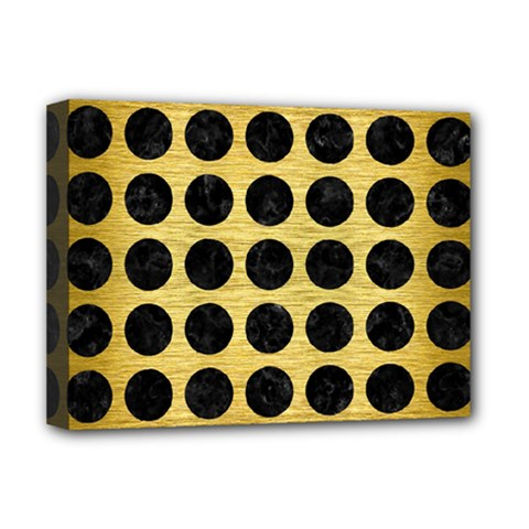 Circles1 Black Marble & Gold Brushed Metal (r) Deluxe Canvas 16  X 12  (stretched)  by trendistuff