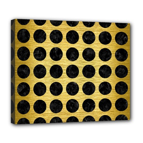 Circles1 Black Marble & Gold Brushed Metal (r) Deluxe Canvas 24  X 20  (stretched) by trendistuff