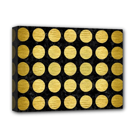Circles1 Black Marble & Gold Brushed Metal Deluxe Canvas 16  X 12  (stretched)  by trendistuff