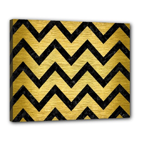 Chevron9 Black Marble & Gold Brushed Metal (r) Canvas 20  X 16  (stretched) by trendistuff