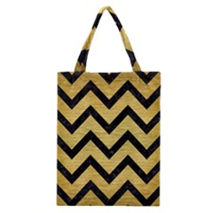 Chevron9 Black Marble & Gold Brushed Metal (r) Classic Tote Bag by trendistuff