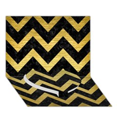 Chevron9 Black Marble & Gold Brushed Metal Heart Bottom 3d Greeting Card (7x5) by trendistuff