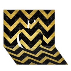 Chevron9 Black Marble & Gold Brushed Metal Apple 3d Greeting Card (7x5) by trendistuff