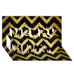 Chevron9 Black Marble & Gold Brushed Metal Merry Xmas 3d Greeting Card (8x4) by trendistuff
