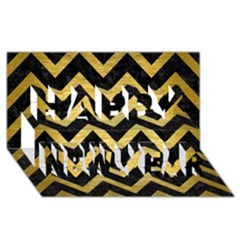 Chevron9 Black Marble & Gold Brushed Metal Happy New Year 3d Greeting Card (8x4) by trendistuff