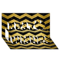 Chevron3 Black Marble & Gold Brushed Metal Best Wish 3d Greeting Card (8x4) by trendistuff