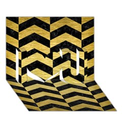 Chevron2 Black Marble & Gold Brushed Metal I Love You 3d Greeting Card (7x5) by trendistuff