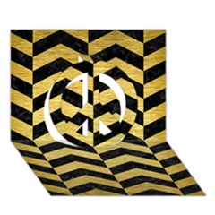 Chevron2 Black Marble & Gold Brushed Metal Peace Sign 3d Greeting Card (7x5)