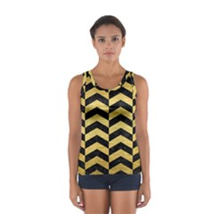 Chevron2 Black Marble & Gold Brushed Metal Sport Tank Top  by trendistuff