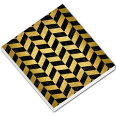 Chevron1 Black Marble & Gold Brushed Metal Small Memo Pads