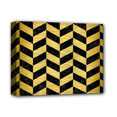 Chevron1 Black Marble & Gold Brushed Metal Deluxe Canvas 14  X 11  (stretched) by trendistuff