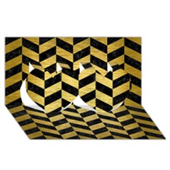 Chevron1 Black Marble & Gold Brushed Metal Twin Hearts 3d Greeting Card (8x4)
