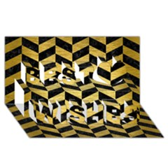 Chevron1 Black Marble & Gold Brushed Metal Best Wish 3d Greeting Card (8x4) by trendistuff