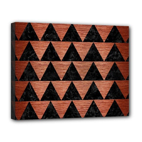 Triangle2 Black Marble & Copper Brushed Metal Canvas 14  X 11  (stretched) by trendistuff