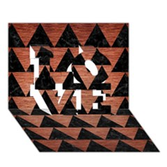 Triangle2 Black Marble & Copper Brushed Metal Love 3d Greeting Card (7x5) by trendistuff