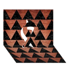 Triangle2 Black Marble & Copper Brushed Metal Ribbon 3d Greeting Card (7x5)