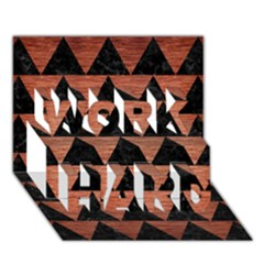 Triangle2 Black Marble & Copper Brushed Metal Work Hard 3d Greeting Card (7x5)