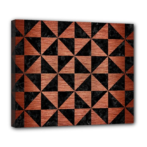 Triangle1 Black Marble & Copper Brushed Metal Deluxe Canvas 24  X 20  (stretched) by trendistuff