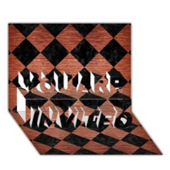 Square2 Black Marble & Copper Brushed Metal You Are Invited 3d Greeting Card (7x5) by trendistuff