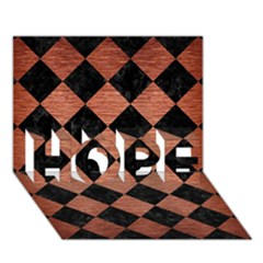 Square2 Black Marble & Copper Brushed Metal Hope 3d Greeting Card (7x5) by trendistuff