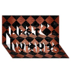 Square2 Black Marble & Copper Brushed Metal Best Wish 3d Greeting Card (8x4) by trendistuff