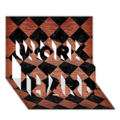 Square2 Black Marble & Copper Brushed Metal Work Hard 3d Greeting Card (7x5) by trendistuff