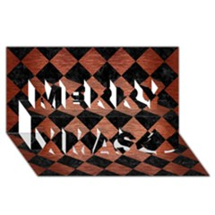 Square2 Black Marble & Copper Brushed Metal Merry Xmas 3d Greeting Card (8x4) by trendistuff