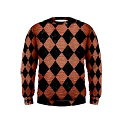 Square2 Black Marble & Copper Brushed Metal Kids  Sweatshirt