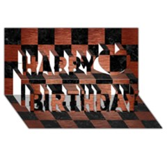 Square1 Black Marble & Copper Brushed Metal Happy Birthday 3d Greeting Card (8x4) by trendistuff