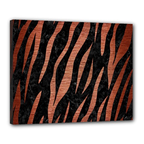 Skin3 Black Marble & Copper Brushed Metal Canvas 20  X 16  (stretched) by trendistuff