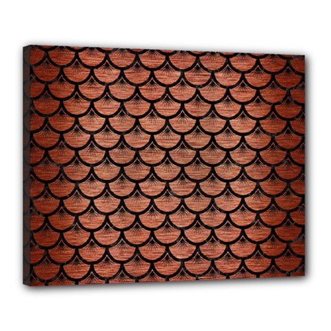 Scales3 Black Marble & Copper Brushed Metal (r) Canvas 20  X 16  (stretched) by trendistuff