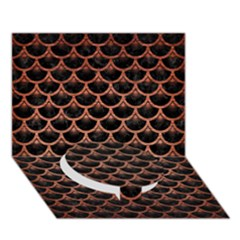 Scales3 Black Marble & Copper Brushed Metal Circle Bottom 3d Greeting Card (7x5)